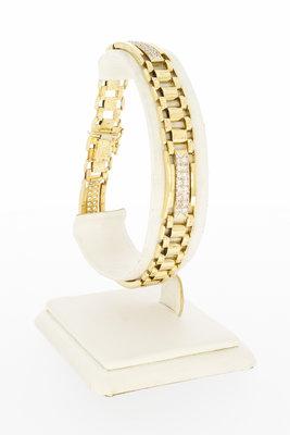 14 karaat gouden armband met zirkonia-21 cm