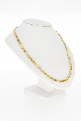 14 Karaat bicolor gouden Valkoog schakel Collier - 42,5 cm