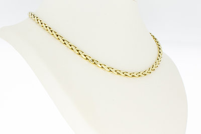 14 Karaat geel gouden platte Vossenstaart Collier- 45 cm