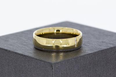 14 karaat bicolor gouden ring met briljant geslepen Diamant