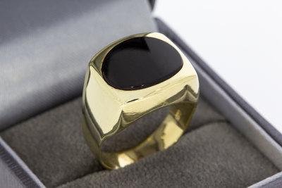 14 Karaat geel gouden Zegelring ring met zwarte Onyx
