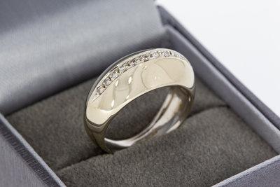 18 Karaat witgouden bandring gezet met Diamant