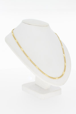 """14 karaat gouden Gourmet ketting met """"tussenplaatjes""""- 62 cm"""