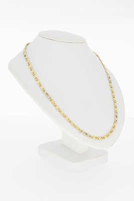 14 karaat bicolor gouden schakelketting - 61 cm