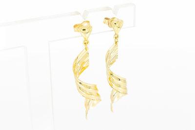 14 Karaat geel gouden Wokkel oorbellen