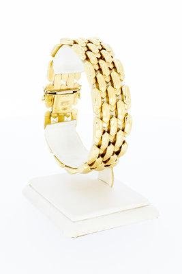 14 karaat brede geel gouden schakel armband - 19 cm