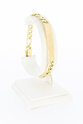 14 Karaat gouden Figaro armband met naamplaat - 21 cm