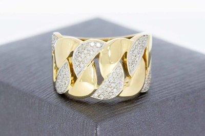 18 Karaat bicolor gouden Bandring Pave gezet met Diamant