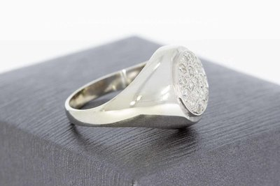 18 Karaat witgouden Zegelring / Pinkring gezet met Diamant