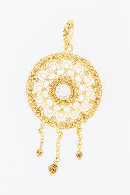 14 karaat gouden filigrain kettinghanger met Aqamarijn
