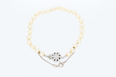 """""""Majorica"""" Parel armband met een zilveren sluiting-19,5 cm"""