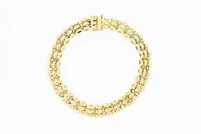 14 Karaat geel gouden schakel armband - 19,7 cm
