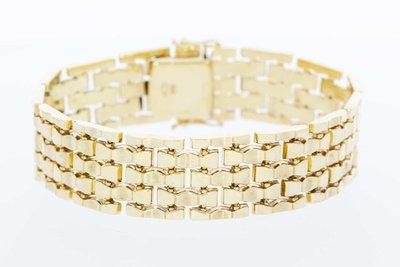 14 Karaat geelgouden gevlochten schakelarmband - 18,0 cm