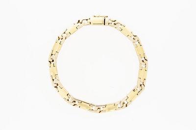14 Karaat bicolor gouden schakel armband - 19,0 cm