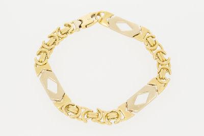 14 Karaat bicolor gouden Koningsarmband met spekken- 21 cm