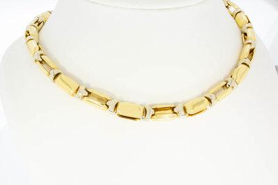 """18 karaat bicolor gouden """"Baraka"""" schakel Collier - 44,9 cm"""
