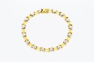 18 karaat  bicolor gouden schakel armband - 21,3 cm