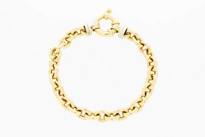 14 karaat bicolor gouden Anker schakelarmband - 20,0 cm