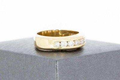 14 Karaat geelgouden Bandring gezet met Diamant (ca 0.94 crt)