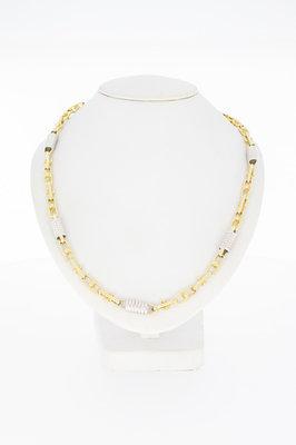 14 karaat bicolor gouden Koningsketting met wokkels- 64 cm