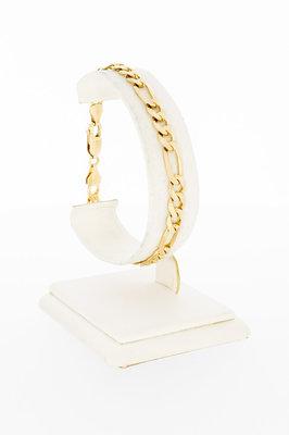 14 Karaat geelgouden Figaro schakelarmband - 20,2 cm