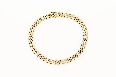 18 karaat geelgouden gewalste Gourmet armband - 18 cm
