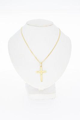 14 Karaat geel gouden Kettinghanger - Kruis -