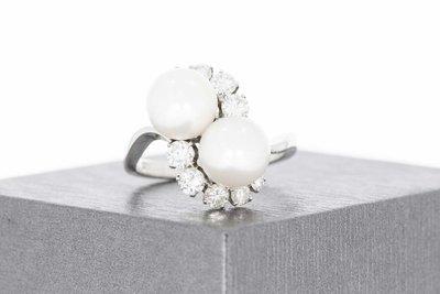 18 Karaat witgouden Markies ring gezet Parels en Diamanten