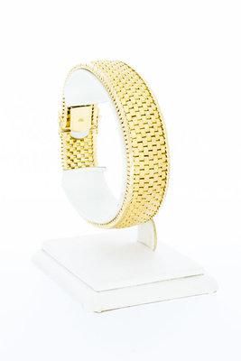 18 karaat geelgouden gevlochten schakelarmband - 19,2 cm