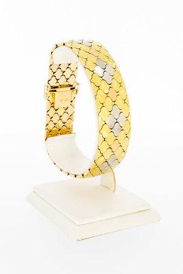 18 karaat tricolor brede gouden schakelarmband - 21 cm