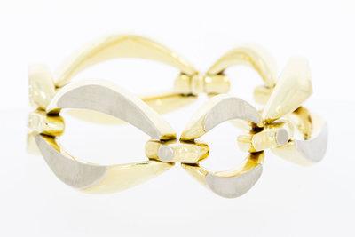 14 karaat bicolor gouden grove schakelarmband - 20 cm