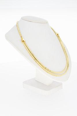 """14 Karaat gouden """"Blokjes"""" Omega schakel collier - 43,3 cm"""