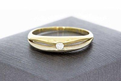 14 Karaat Bicolor gouden ring gezet met diamant 0.07 Crt