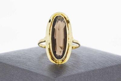 14 Karaat geelgouden ring gezet met ovale Rookkwarts