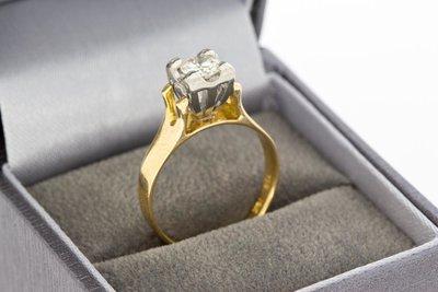 18 Karaat bicolor gouden Solitair ring met Diamant 0,45 crt