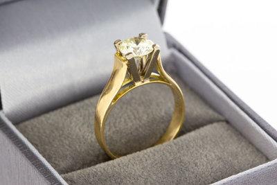 18 Karaat gouden Solitair ring gezet met Diamant 1,10 crt GERESERVEERD