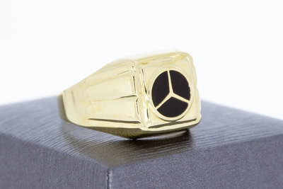 """14 Karaat geel gouden Statement ring met """"Mercedes"""" logo"""