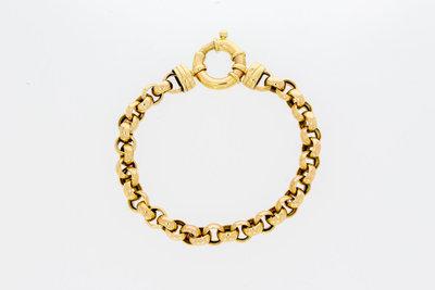 14 karaat geelgouden Jasseron armband met veerslot-20,2 cm GERESERVEERD