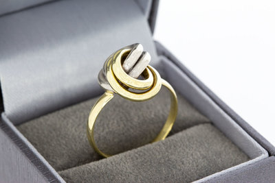 """14 Karaat bicolor gouden """"Infinity"""" Knoop ring"""