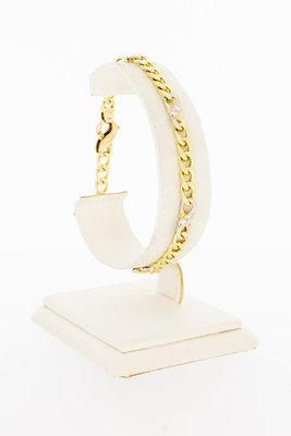 14 Karaat bicolor Gourmet Infinty armband met Diamant-20 cm VERKOCHT