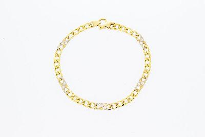 14 Karaat bicolor Gourmet Infinty armband met Diamant-20 cm