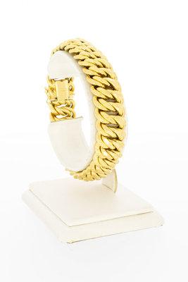 18 Karaat gouden dubbele Gourmet schakelarmband-19,2 cm