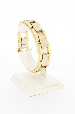 """18 Karaat bicolor gouden """"Design"""" schakelarmband - 21 cm"""