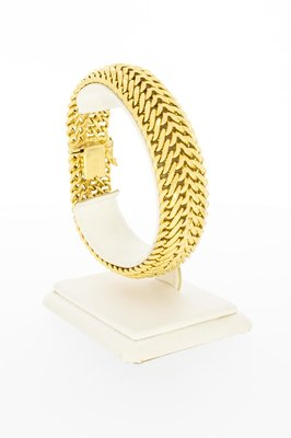 18 Karaat geelgouden dubbele Gourmet armband - 20,5 cm