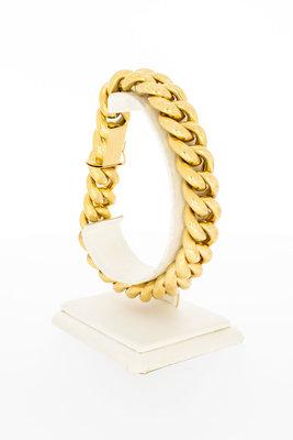 18 Karaat geelgouden grove Gourmet armband - 23 cm