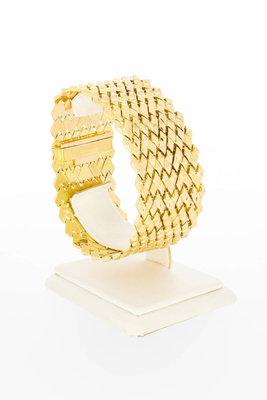 18 Karaat gouden brede Wiebertjes schakelarmband - 19 cm