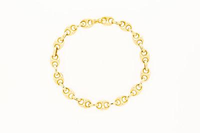 14 Karaat geelgouden Anker schakelarmband - 20,5 cm