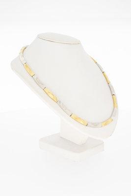 14 Karaat bicolor gouden Staafjes Collier - 41 cm