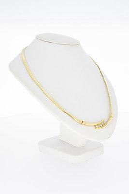 14 Karaat geelgouden Omega Collier met Diamant - 45 cm