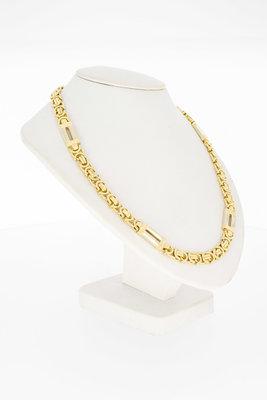 14 Karaat bicolor gouden platte Koningschakelketting - 61 cm